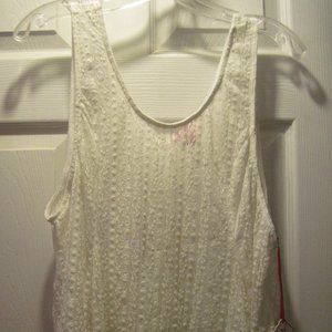 NWT CREAM SHEER LACE TANK FROM CANDIE'S SIZE XL
